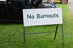 No burnouts sign at car meet. Stock Image