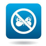 No butterfly icon, simple style Stock Images