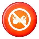No butterfly sign icon, flat style Stock Photo