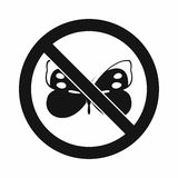 No butterfly sign icon, simple style Royalty Free Stock Photography