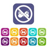 No butterfly sign icons set Royalty Free Stock Photos