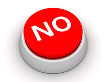No button. Red No button on white background. 3D render Royalty Free Stock Photos