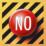 No button in red. On a yellow and black background Stock Photos