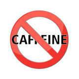 No caffeine sign. Red prohibition sign. Stop symbol. Vector Royalty Free Stock Images