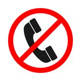 No Call Sign On White Background. No Handset Icon Stock Photo