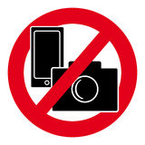 No camera and mobile phone symbol on white background. Vector illustration Royalty Free Stock Photo