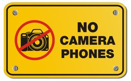 No camera phones yellow sign - rectangle sign Royalty Free Stock Photo