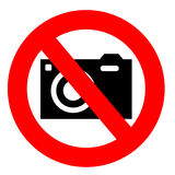 No camera sign. Isolated on a white background stock illustration