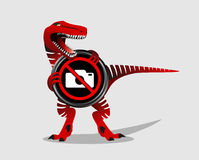 No camera symbol with dinosaur. Camera attention sign. T-rex. Camera prohibition. Stock Photos