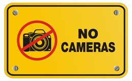 No camera yellow sign - rectangle sign Royalty Free Stock Image