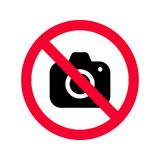 No cameras allowed sign. Red prohibition no camera sign. No taking pictures. No photographs sign Stock Photos
