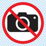 No cameras allowed sign. Red prohibition no camera sign. No taking pictures, no photographs sign. Vector illustration stock illustration