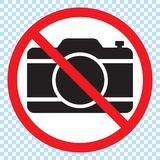 No cameras allowed sign. Red prohibition no camera sign. No taking pictures, no photographs sign. Vector illustration royalty free illustration