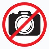 No cameras allowed sign. Red prohibition no camera sign. No taking pictures, no photographs sign. Vector illustration vector illustration