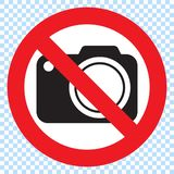 No cameras allowed sign. Red prohibition no camera sign. No taking pictures, no photographs sign. Illustration on white background vector illustration