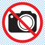 No cameras allowed sign. Red prohibition no camera sign. No taking pictures, no photographs sign. Illustration on white background royalty free illustration
