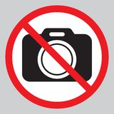 No cameras allowed sign. Red prohibition no camera sign. No taking pictures, no photographs sign. Vector illustration isolated on white background stock illustration