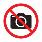 No cameras allowed sign. Red prohibition no camera sign. No taking pictures, no photographs sign. Vector illustration isolated on white background royalty free illustration