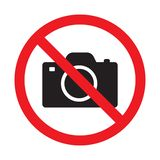 No cameras allowed sign. Red prohibition no camera sign. No taking pictures, no photographs sign. Vector illustration isolated on white background vector illustration