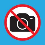 No cameras allowed sign. Red prohibition no camera sign. No taking pictures, no photographs sign. Vector illustration isolated stock illustration