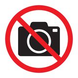 No cameras allowed sign. Red prohibition no camera sign. No taking pictures, no photographs sign. Vector illustration isolated vector illustration