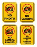 No cameras or camera phones signs. Suitable for warning sign Stock Illustration