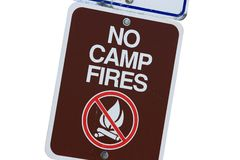 No Camp Fires Sign Stock Photography
