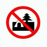 No Camping. Sign Camping porhited Royalty Free Stock Image