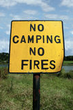 No camping and fires. A no camping no fires sign in knockanore county waterford in the south of ireland in summer on the blackwater river edge Stock Images