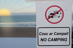 No camping and motorhomes sign at sunset Stock Images