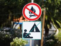 No camping and no fire allowed warning sign in Croatia. Stock Photo