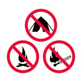 No camping, No fire and No open flames red prohibition signs. Forbidden signs Stock Images
