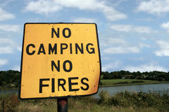 No camping no fires. A no camping no fires sign in knockanore county waterford in the south of ireland in summer on the blackwater river edge Royalty Free Stock Photos