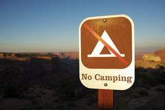 No Camping Sign Royalty Free Stock Photography