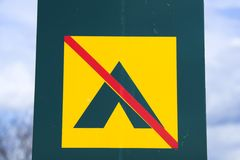 No Camping sign. Camping prohibited Stock Photo