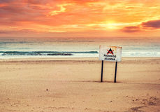 No camping sign on the beach Stock Photography