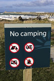 No camping sign. Sign in front of Tolaga Bay historic wharf stock images