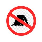 No camping sign symbol icon. No camping sign icon on white transparent background. Forbidden camp tent set symbol royalty free illustration