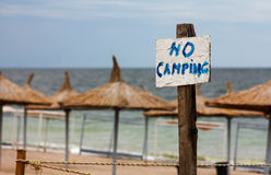 No camping sign. Vama Veche Romania no camping sign on the beach stock images