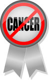 No Cancer Button and Ribbon Royalty Free Stock Photography