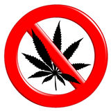 No cannabis. Illustration of the sign no cannabis on a white background Royalty Free Stock Photo
