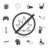 No cannabis iconSet of Human weakness and Addiction element icon. Premium quality graphic design. Signs, outline symbols collectio. N icon for websites, web Royalty Free Stock Photography