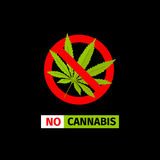 No Cannabis sign. Vector forbidding sign on the black background. No Cannabis Stock Photo