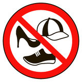 No cap shoes sign warning. Prohibited public information icon. Not allowed cap and shoe symbol Royalty Free Stock Image