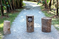 No car entry sign on the log, the passage of vehicles prohibited Royalty Free Stock Images