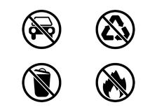 No car, no trash, no recycling and no fire vector signs. Set, isolated on white background Stock Image
