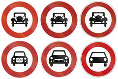 No Car Signs In Germany. Collection of historic and modern (bottom right) traffic signs prohibiting thoroughfare for cars in Germany Royalty Free Stock Photo