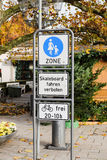 No car zone - family zone Geramny street. No car zone family zone with skateboard restricted acces on the streets of Germany Stock Image