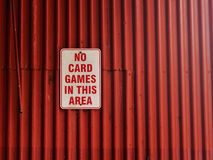 No Card Games In This Area Royalty Free Stock Image