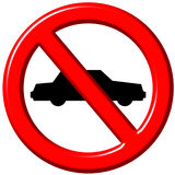 No cars allowed 3d sign Stock Photography